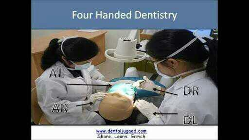 What are the steps in four-handed dentistry?