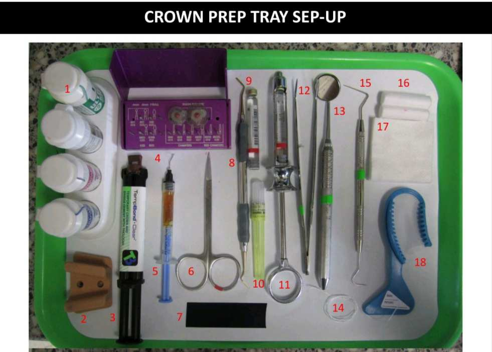 CROWN PREP TRAY SEP-UP INSTRUMENTS